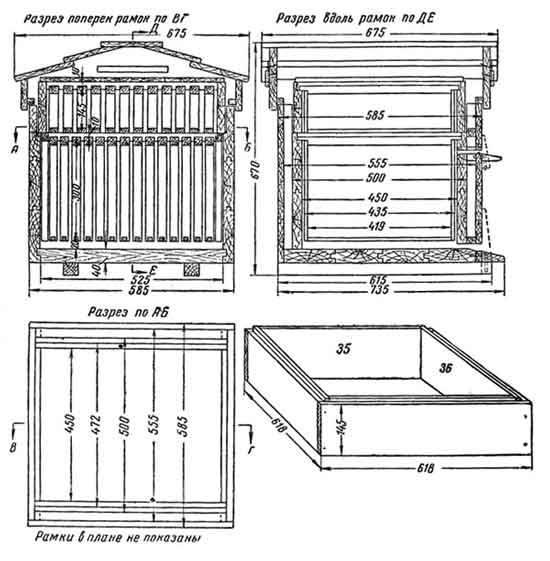 Размеры и чертежи 14-ти рамочного улья Дадан