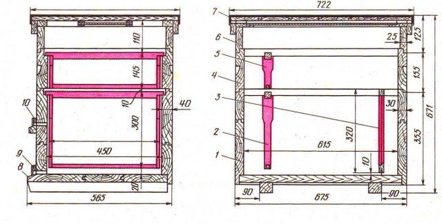 Размеры и чертежи 16-ти рамочного улья Дадан